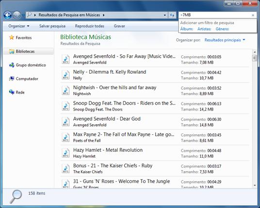 Usando filtros de pesquisa no Windows Explorer