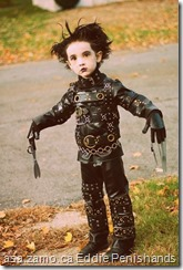 kid dressed like Edward Scissorhands (aka known in the porn remake as Edward Penishands)