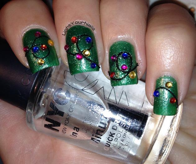 Christmas Light Nails: Winter Nail Art Challenge: Christmas Lights