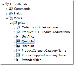 Quantity data field node in 'grid1' view of OrderDetails controller.