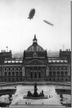 Hindenburg and Graf Zeppelin over Reichstag