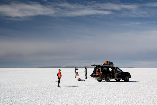 A bunch of gringos out making fools of themselves in the middle of the salt flats.