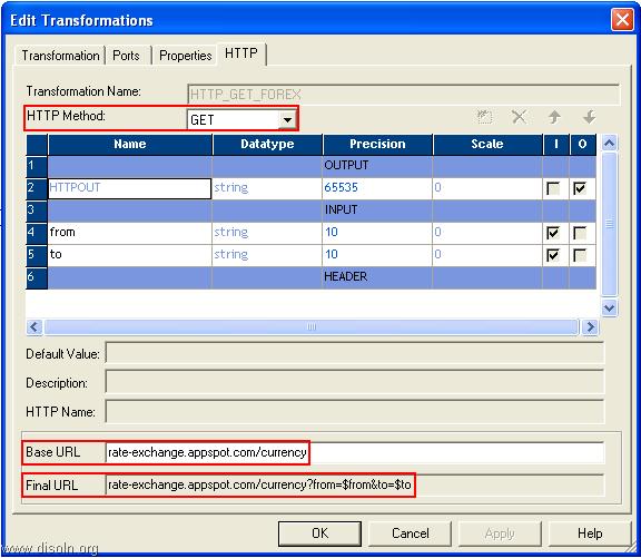 Informatica HTTP Transformation