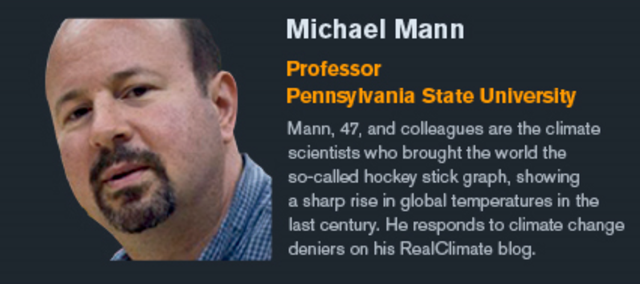 Professor Michael Mann, Pennsylvania State University. Mann, 47, and colleagues are the climate scientists who brought the world the so-called hockey stick graph, showing a sharp rise in global temperatures in the last century. He responds to climate change deniers on his RealClimate blog. Graphic: Bloomberg Markets and Bloomberg Visual Data