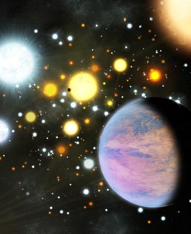 ilustração de um aglomerado estelar com exoplanetas