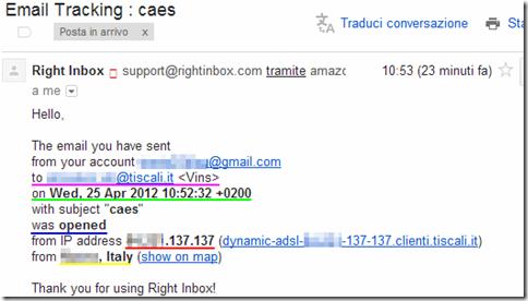 Right Inbox  notifica avvenuta apertura dell'email tracciata