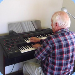 Our host for the day, Rob Powell playing the Yamaha Electone EL15  along with Jim Nicholson on the Clavinova and Peter Brophy on the Tyros 3.