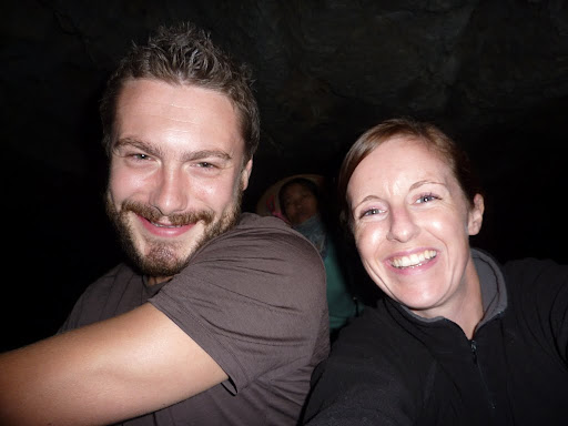 Lynette, Anna and I in the darkness of a limestone grotto...