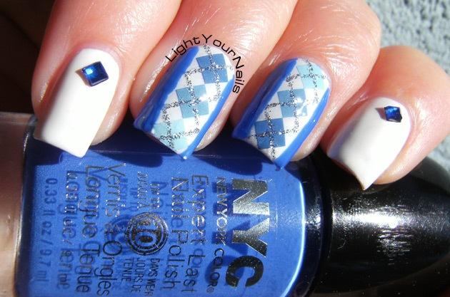 BPS blue and glitter plaid pattern + white and rhinestones skittlette