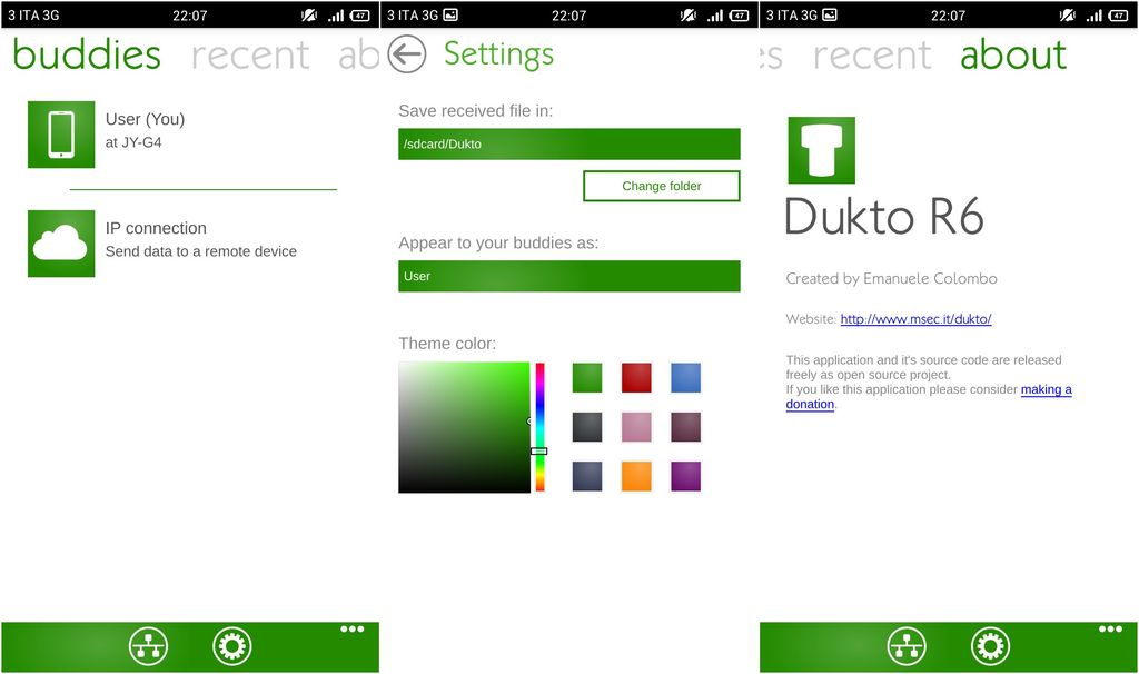 Dukto R6 in smartphone Android