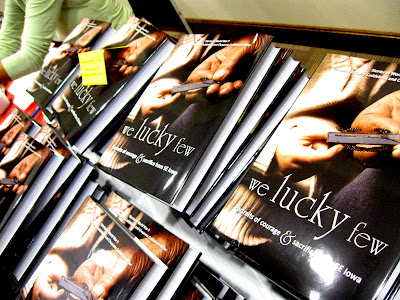 Stacks of books did not last long at the book-signing with Larry Cuddeback and Cheyenne Miller
