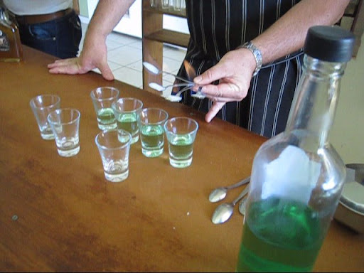 "Preparing absinthe in Chocolateria ""A la Antigua"""