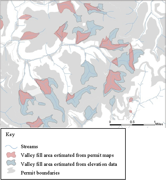 Map showing loss of headwater streams to mountaintop mines and valley fills (MTM-VF). This diagram depicts the loss of stream miles and channel complexity that can result from extensive mountaintop mining and valley filling. Solid blue lines inside valley fill areas represent buried streams. Note that some headwaters above filled areas are disconnected from the rest of the stream network. Source: Modified from Figure 12 in Shank (2004) / EPA