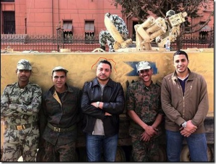 Ahmed Bedier with Egyptian anarchists and military