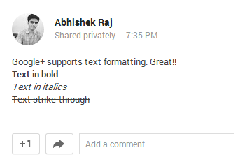 text formatting in google+
