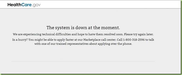 healthcare.gov error message