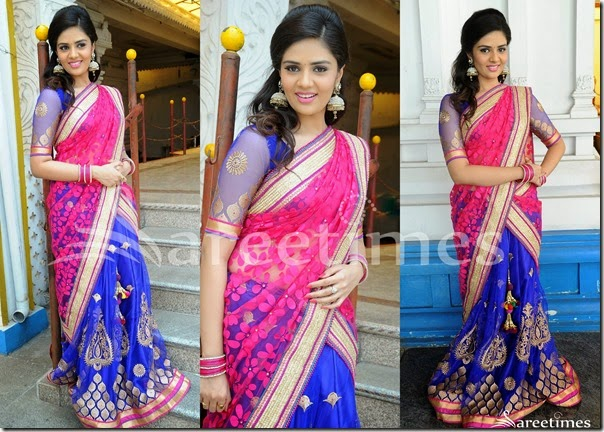 Sri_Mukhi_Pink_Blue_Half_Saree