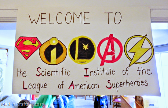 superhero party welcome sign