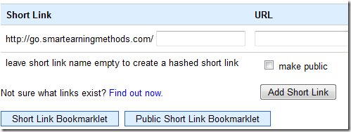 creating Short link with googleapps