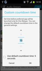 يمكنك تحديد الزمن الذى ينتظهر تطبيق Better Open With قبل فتح الملف فى التطبيق المفضل