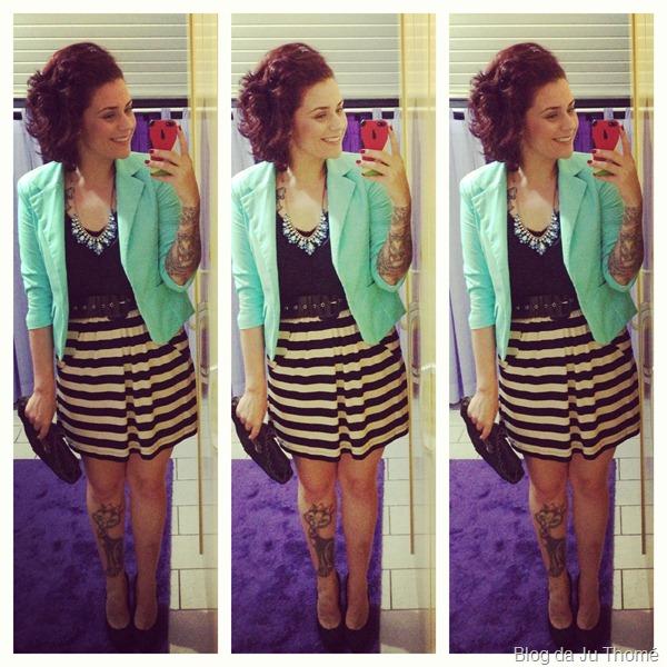 Look saia listrada, regata cetim e blazer azul turquesa (1)