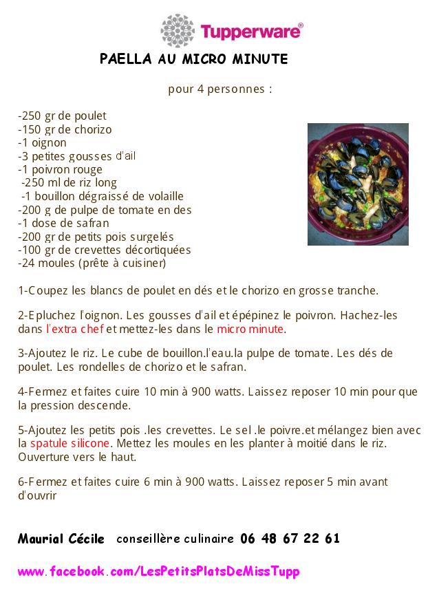 Exceptionnel Miss Tup: Paella micro minute KX56