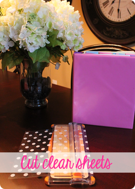 Updating Plain Old Folders into Fabulous Folders by adding clear scrapbook paper