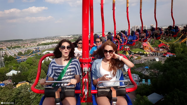 the swing mill taking us up high at Canada's Wonderland in Vaughan, Ontario, Canada