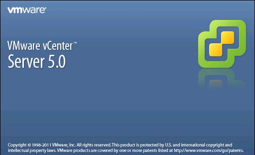 VMware vCenter Server 5.0 splash screen