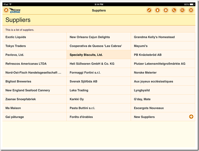 List with a field tagged as 'item-heading' in an app with Touch UI.