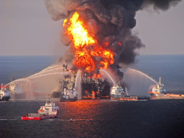 A file photo released by the U.S. Coast Guard of the fire aboard the drilling unit Deepwater Horizon in the Gulf of Mexico in April 2010. Halliburton has agreed to plead guilty to destruction of critical evidence after the spill. Photo: U.S. Coast Guard