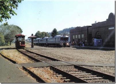 Lewis & Clark Explorer & Astoria Riverfront Trolley at the depot in Astoria, Oregon on September 24, 2005