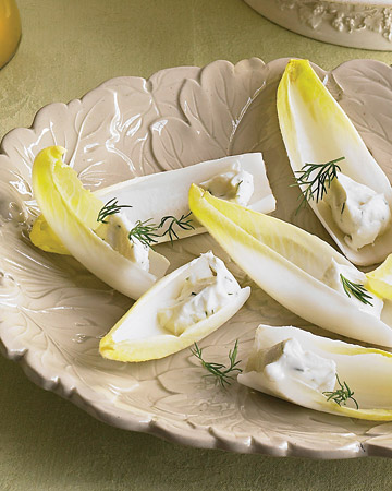 Endive Spears with Herbed Goat Cheese: This vegetarian finger food can be made in no time. We served the goat cheese on endive spears, but you can also use hearts of celery or crackers.