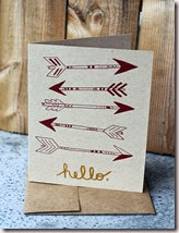 Hello - Arrows - Hand Printed Silkscreen Greeting Card