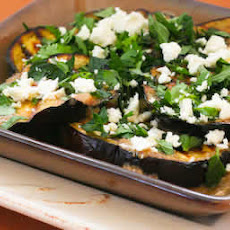 Grilled Eggplant with Garlic-Cumin Vinaigrette, Feta, and Herbs