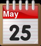 Calendar May 25 T