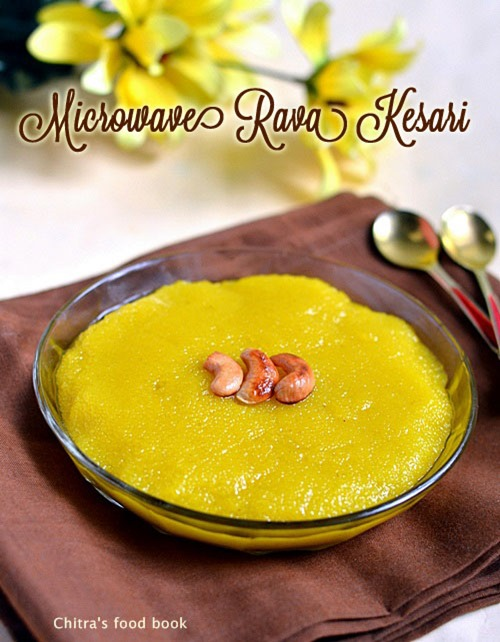 Microwave rava kesari recipesooji halwa chitras food book forumfinder Choice Image