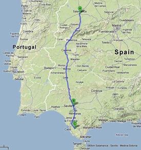 580km Salamanca - Seville - Medina-Sidonia