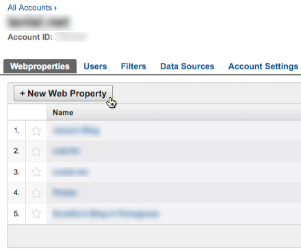 Creating a new Last.fm Google Analytics Web Property