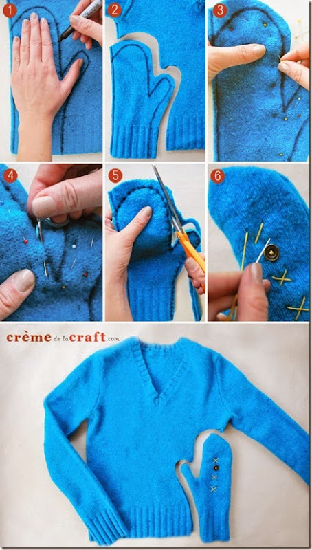 how to make mittens out of old sweaters