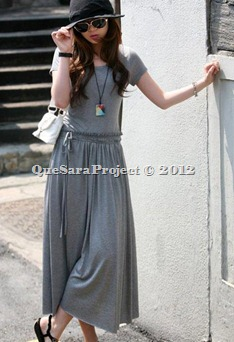 EAH8887 - SHORT SLEEVE LONG DRESS