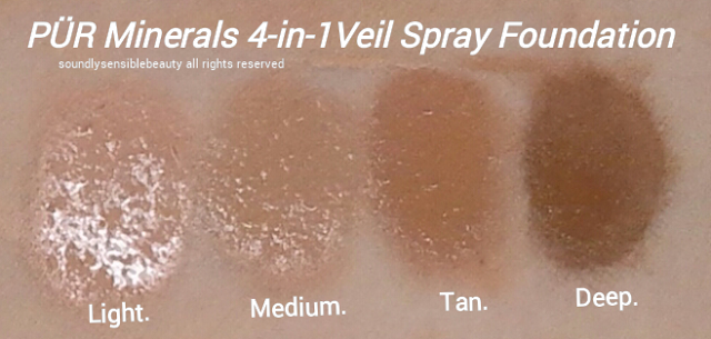 Pur Minerals 4-in-1 Liquid Veil Spray Foundation, Swatches of Shades