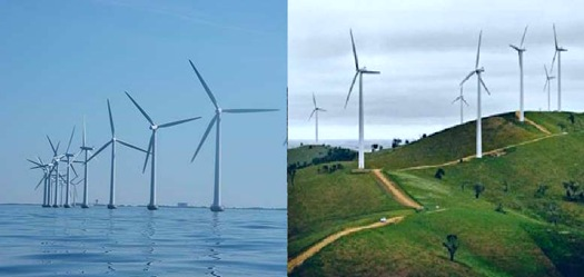 Wind farm, off shore, or on shore