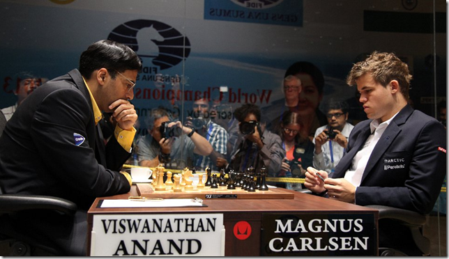Game 6 - Anand vs Carlsen, FWCM 2013 Chennai India