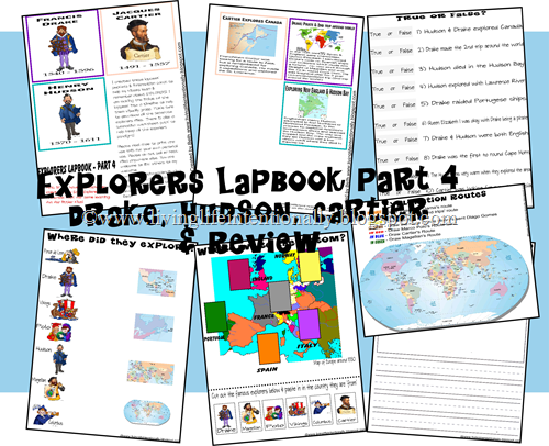 Printables Early Explorers Worksheets explorers part hudson and cartier download free early lapbook worksheets drake cartier