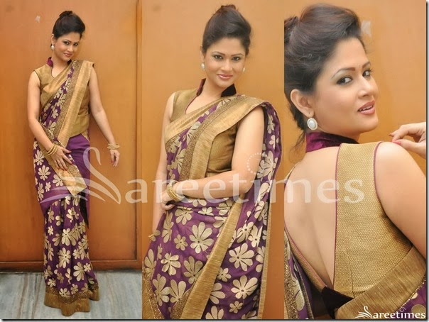 Shilpa_Chakravarthy_Purple_Embellished_Saree