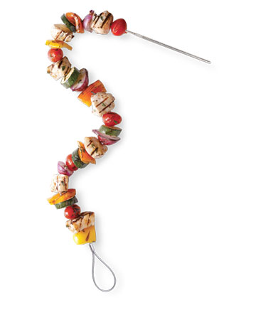 With this bendable stainless steel Fire Wire grilling skewer (williamssonoma.com), you can skewer foods before marinating them in a plastic bag or bowl.