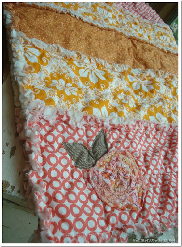 {Northern Cottage} coral and sunshine RAQ QUILT with scrappy flower