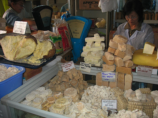 Various kinds of hard cheese, many from horse milk. Some of them are sweet.