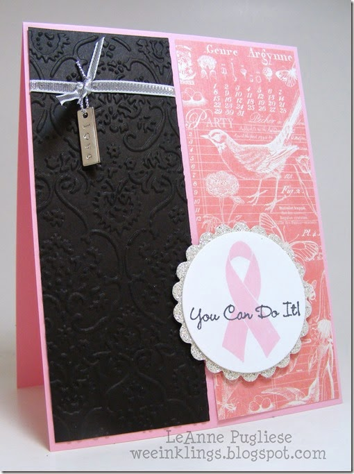 LeAnne Pugliese WeeInklings ColourQ262 Breast Cancer Card Stampin Up